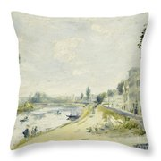 The Banks Of The Seine At Bougival Throw Pillow