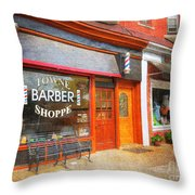 The Barber Shop Throw Pillow