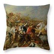 The Battle Between The Amazons And The Greeks Throw Pillow