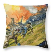 The Battle Of Gettysburg Throw Pillow by Severino Baraldi