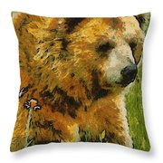 The Bear Painterly Throw Pillow
