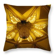 The Beautifully Lit Chandelier On The Ceiling Of The Iskcon Temple In Delhi Throw Pillow