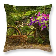 The Bike Stops Here - Niagara Throw Pillow