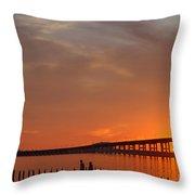 The Biloxi Bay Bridge At Sunset Throw Pillow
