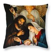 The Birth Of Christ    Feliz Navidad Throw Pillow