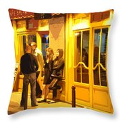 The Bistro At Night Throw Pillow