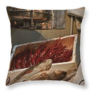 The Blessed Fish Market Throw Pillow