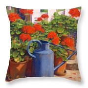 The Blue Watering Can Throw Pillow by Anthony Rule
