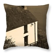 The Boathouse At Laugharne Sepia Throw Pillow