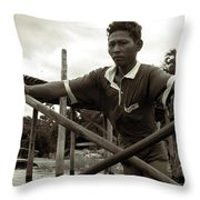 The Boatman Of The Lake Taungthaman - 2 Throw Pillow