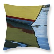 The Bow Of An Anchored, Striped Boat Throw Pillow