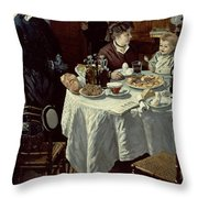 The Breakfast Throw Pillow by Claude Monet
