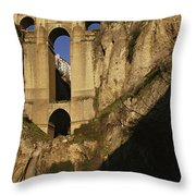 The Bridge At Ronda Spain Connects Throw Pillow