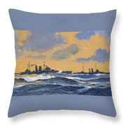 The British Cruisers Hms Exeter And Hms York  Throw Pillow