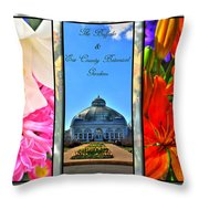 The Buffalo And Erie County Botanical Gardens Triptych Series With Text Throw Pillow