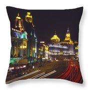 The Bund At Night Throw Pillow