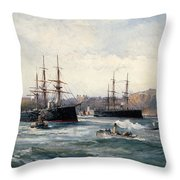The Channel Fleet Off Scarborough Throw Pillow