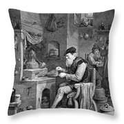 The Chemist, 17th Century Throw Pillow