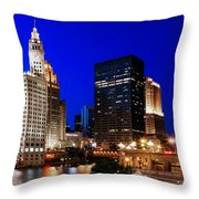 The Chicago River Throw Pillow