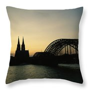 The Cologne Cathedral And Hohenzollern Throw Pillow