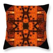 The Color Orange Mandala Abstract Throw Pillow