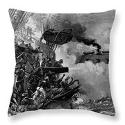 The Confederate Ironclad Merrimack Throw Pillow