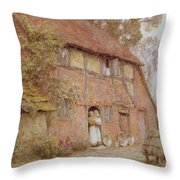 The Cottage With Beehives Throw Pillow