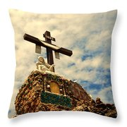 The Cross In The Grotto In Iowa Throw Pillow