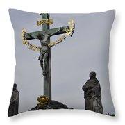 The Crucifix And Calvary - Prague Throw Pillow