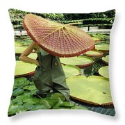 The Cut Pad Of A Victoria Amazonica Throw Pillow