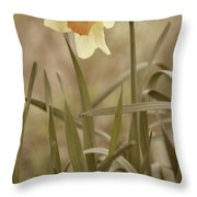 The Daffodil In Partial Sepia Throw Pillow