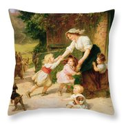 The Dancing Bear Throw Pillow by Frederick Morgan