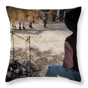 The Day Liberty And Justice Came Into Camp Throw Pillow