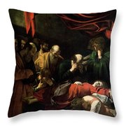 The Death Of The Virgin Throw Pillow by Caravaggio