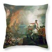 The Defeat Of The Floating Batteries At Gibraltar Throw Pillow