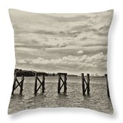 The Disappearing Pier Throw Pillow