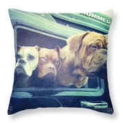 The Dog Taxi Is A Hummer Throw Pillow by Nina Prommer