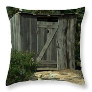 The Double Seat Outhouse Throw Pillow