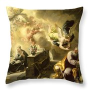 The Dream Of Saint Joseph Throw Pillow by Luca Giordano