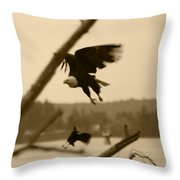 The Eagle Flies With The Crow Throw Pillow