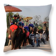 The Elephant Parade Throw Pillow