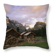 The Elizabeth Parker Hut, A Log Cabin Throw Pillow