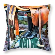 The English Saddle Throw Pillow by Paul Ward