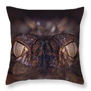 The Eyes Of A Crocodilian Throw Pillow