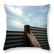 The Fence The Sky And The Beach Throw Pillow