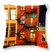 The Fire Escape Throw Pillow