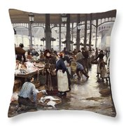 The Fish Hall At The Central Market  Throw Pillow