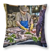 The Fish Monger Throw Pillow