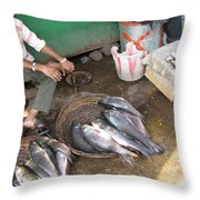The Fish Seller Throw Pillow