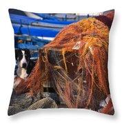 The Fisherman's Dog II Throw Pillow